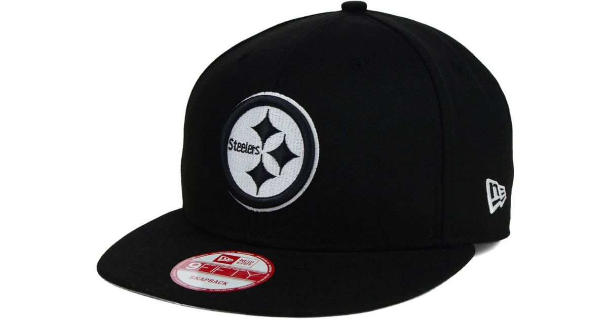 Lyst - KTZ Pittsburgh Steelers Black White 9Fifty Snapback Cap in Black for  Men ce4a3a377ba8