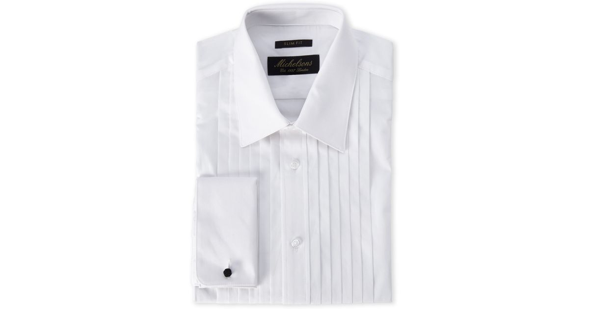 Michelsons Of London Slim Fit French Cuff Pleated Tuxedo: white french cuff shirt slim fit