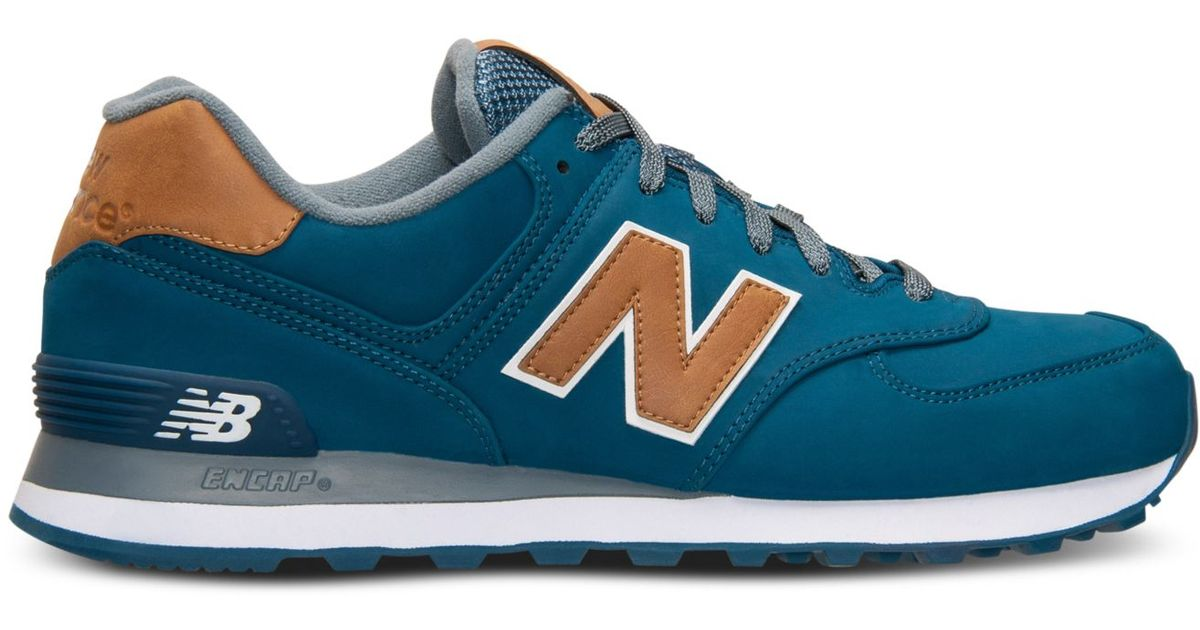 reputable site df83a 431cb New Balance - Blue Men's 574 Lux Casual Sneakers From Finish Line for Men -  Lyst