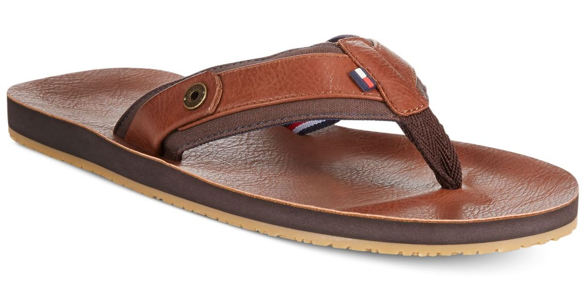 Lyst - Tommy Hilfiger Drew Leather Flip Flops in Brown for Men ebe30a10f