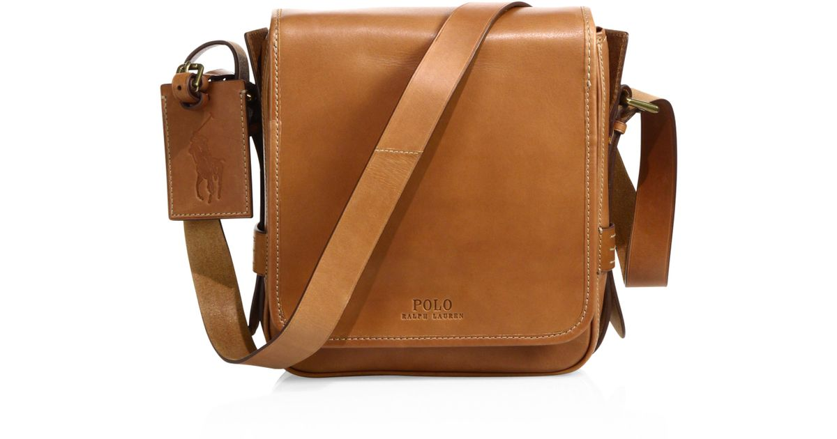 Lyst - Polo Ralph Lauren Compact Leather Messenger Bag in Brown for Men 8c3ecf151de23