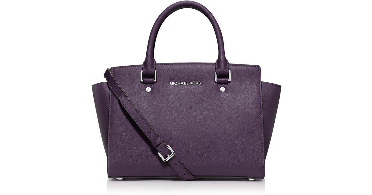 519f13ee7f ... reduced lyst michael michael kors selma medium saffiano leather satchel  in purple 0d631 4b542