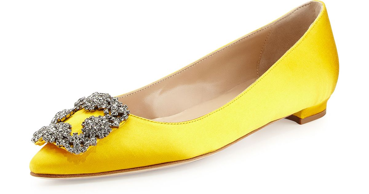 a85499e5f0a4 ... discount code for lyst manolo blahnik hangisi crystal buckle satin flat  in yellow c851a 02c79