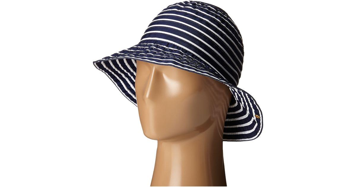 Lyst - Lauren By Ralph Lauren Poly Striped Signature Grosgrain Bucket Hat  in Blue 4236cfbfede0