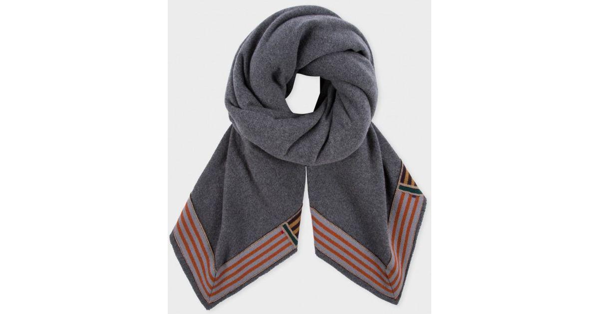 fd7311163252d Lyst - Paul Smith Men's Large Grey Wool Blanket Scarf in Gray for Men