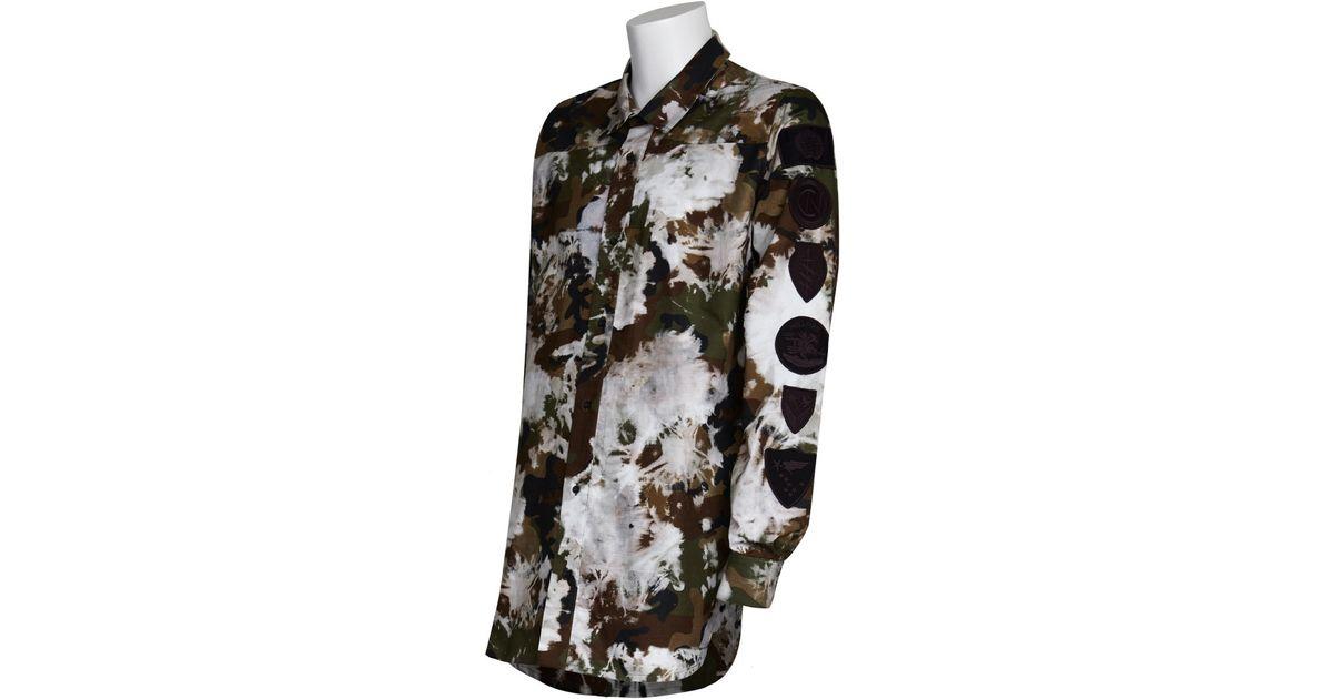 Off White C O Virgil Abloh Camo Button Down Shirt In Brown