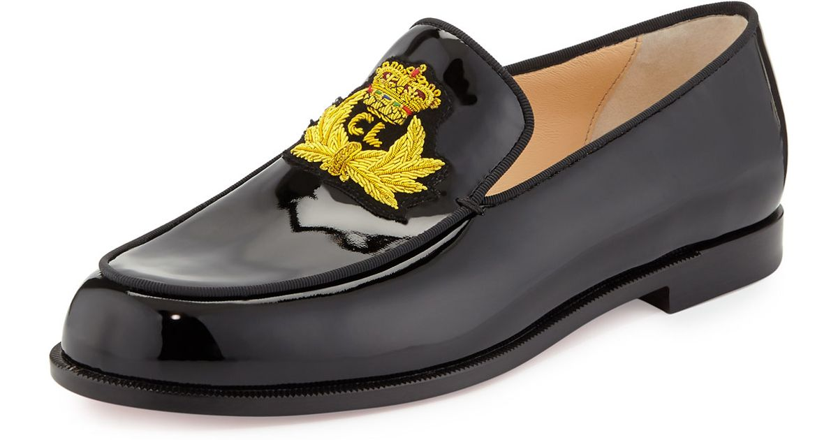 9f1d1463c19a Lyst - Christian Louboutin Laperouza Patent Crest Red Sole Loafer in Black  for Men
