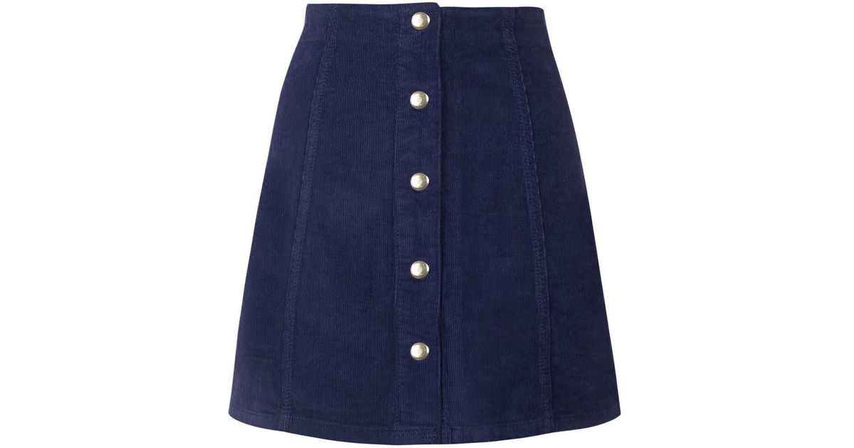 topshop cord popper a line skirt in blue navy blue lyst