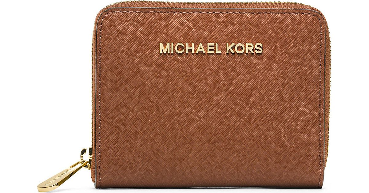 73c23c17d918cf MICHAEL Michael Kors Jet Set Small Saffiano Leather Wallet, Women's,  Luggage in Brown - Lyst