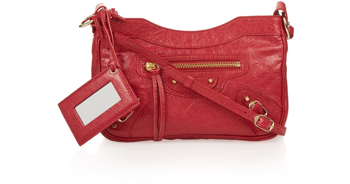 2056160d4dd4 Lyst - Balenciaga Classic Hip Metallic-edge Cross-body Bag in Red