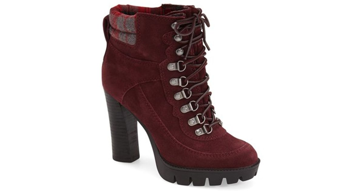 0be35a0ff18 Lyst - Nine West Abrial Lace-Up Suede Boots in Red