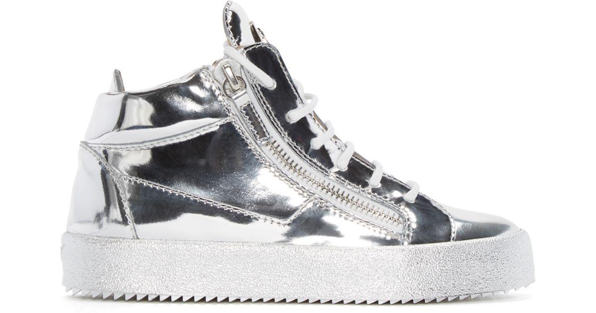 Lyst - Giuseppe Zanotti Ssense Exclusive Silver London Mid-top Sneakers in  Metallic
