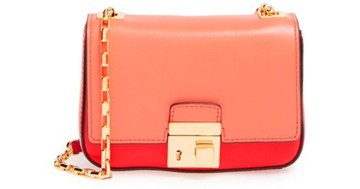 michael kors small gia leather shoulder bag in pink lyst. Black Bedroom Furniture Sets. Home Design Ideas