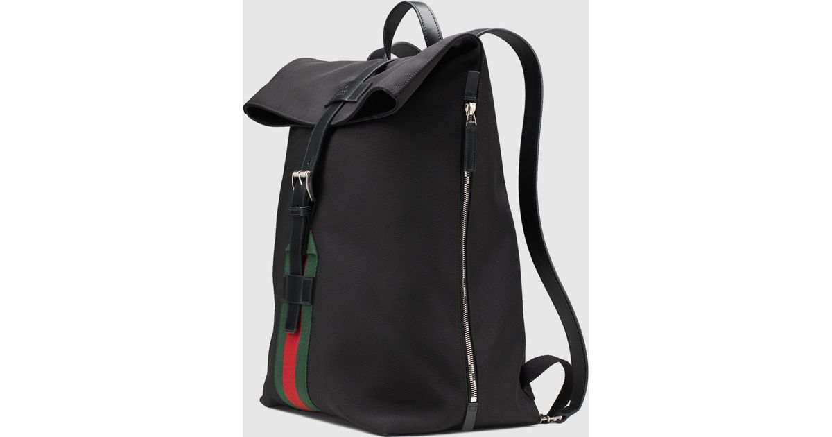 d16d1abbd Gucci Black Techno Canvas Backpack in Black for Men - Lyst
