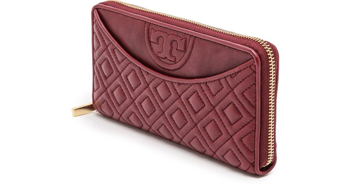 c2f15bdc57 Tory Burch Fleming Open Flat Zip Continental Wallet Deep Berry in Purple -  Lyst