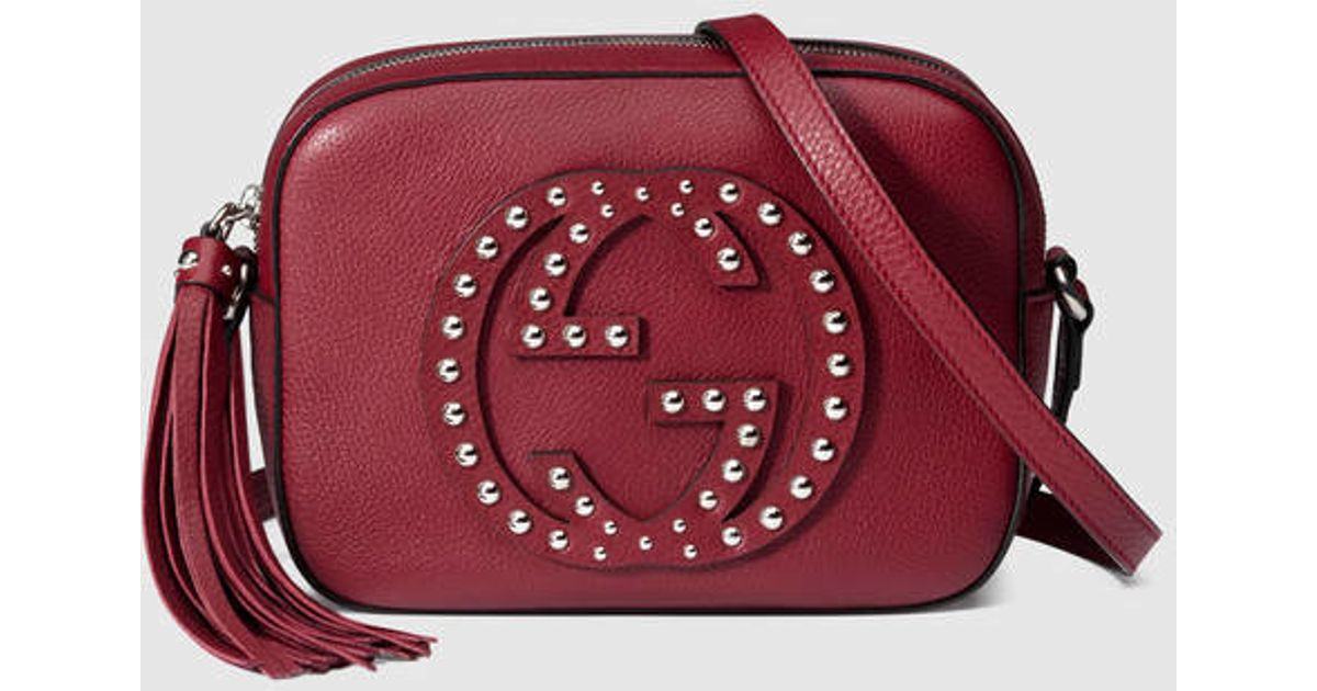 1eaf7b60e499 Gucci Soho Studded Leather Disco Bag in Red - Lyst