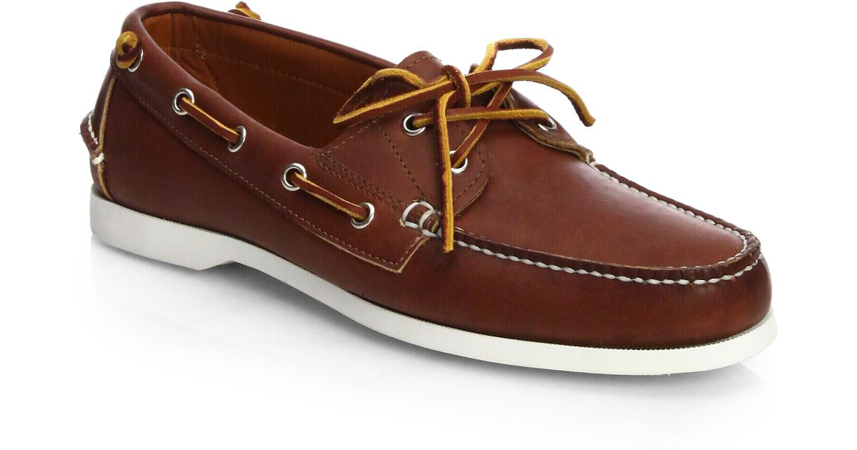 d681b2bdb9d5 Thomas Finley Brown Leather Boat Shoes Men From