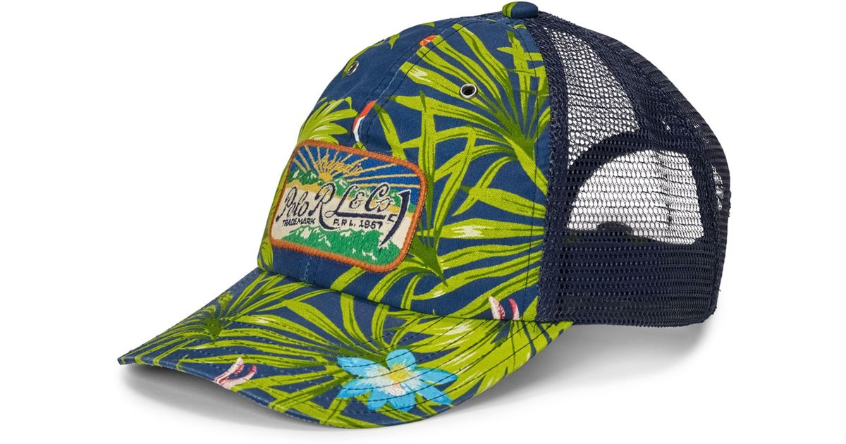 0287a906 Polo Ralph Lauren Men's Floral-print Trucker Hat in Green for Men - Lyst