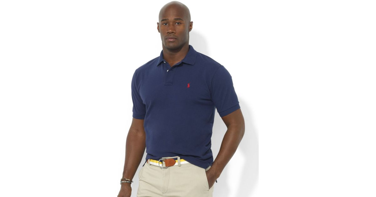 Polo ralph lauren Big And Tall Shirt, Classic-fit Short-sleeve Cotton Mesh Polo in Blue for Men (Newport Navy) | Lyst