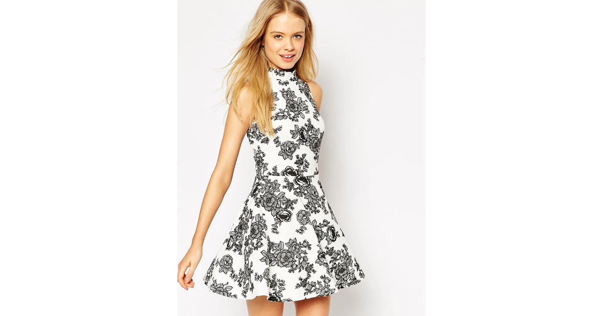 asos swing dress in texture and mono floral print 3