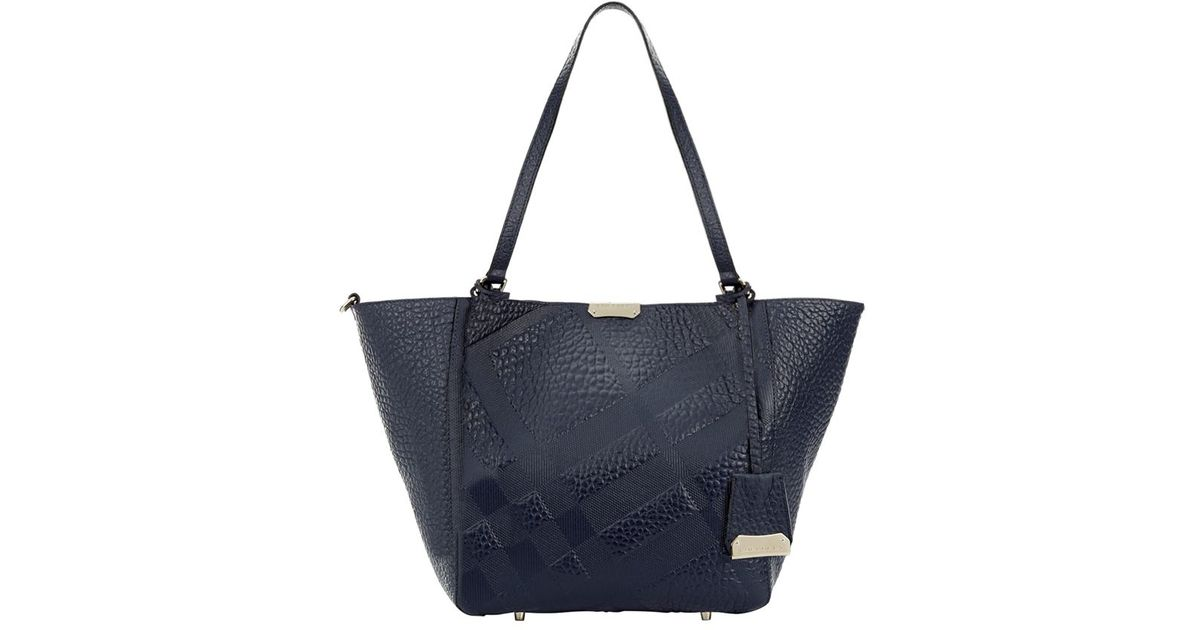 f4225a9a7570 Burberry Small Embossed Check Leather Canter Bag in Blue - Lyst
