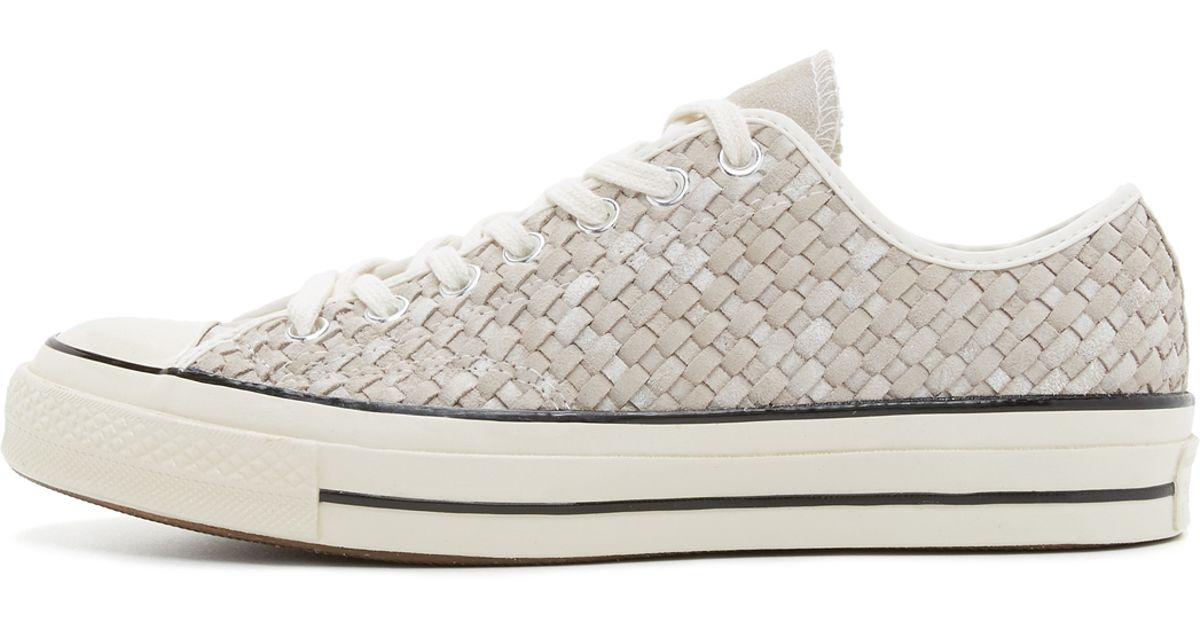 f7d71f46514f Lyst - Converse Chuck Taylor All Star Woven Leather Sneakers in White for  Men