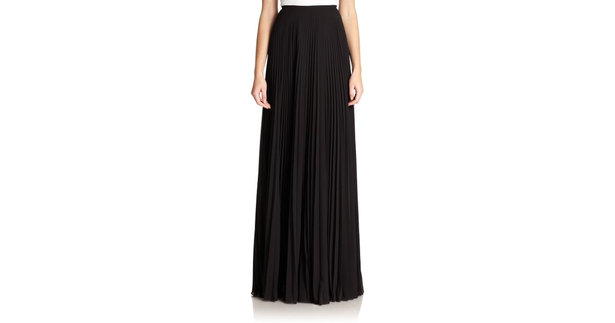 teri jon pleated chiffon skirt in black lyst
