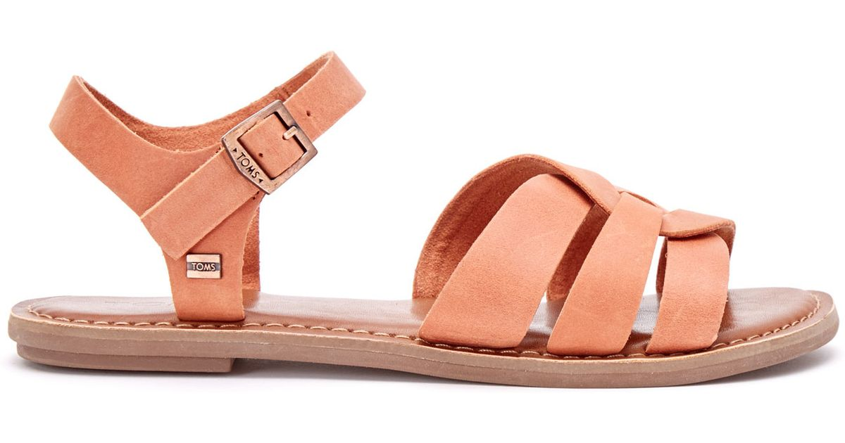 ca6e6c62ba5 Lyst - TOMS Brown Leather Women s Zoe Sandals in Orange