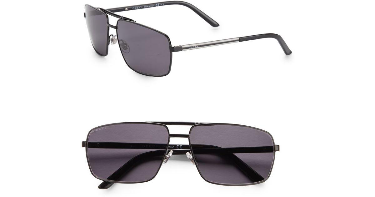 ea5285ca1739a6 Gucci 61mm Square Aviator Sunglasses in Black for Men - Lyst