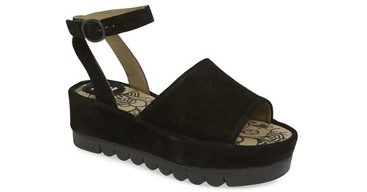 300a2a62cf371 Fly London 'booz' Ankle Strap Platform Sandal in Black - Lyst