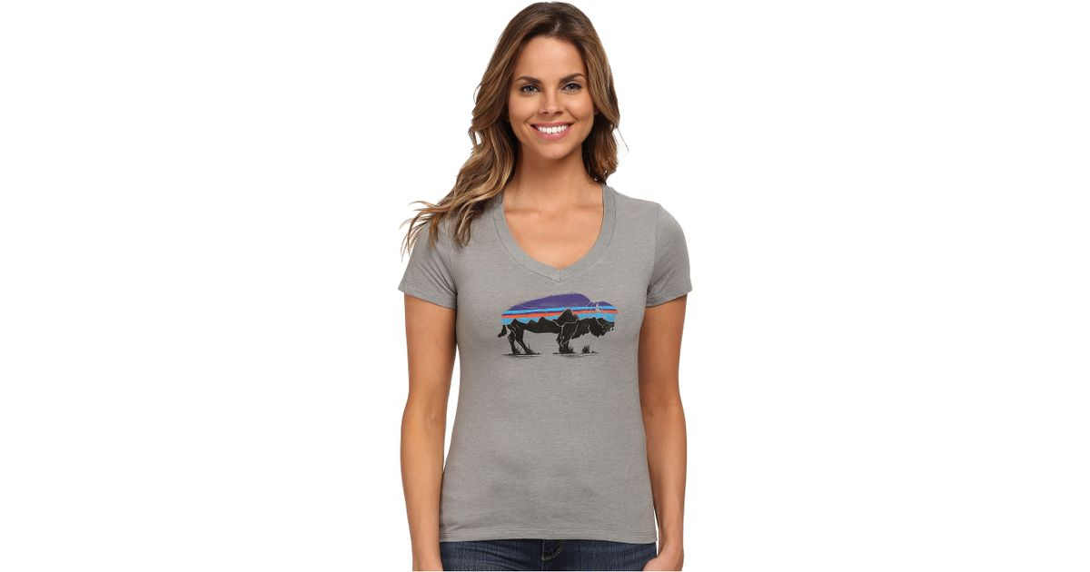 3c64b27275b2b Patagonia Fitz Roy Bison Cotton poly T-shirt in Gray - Lyst