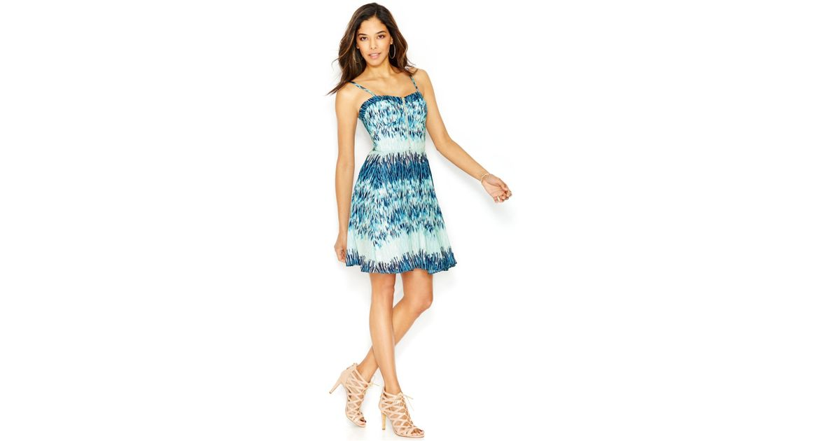 Lyst - Guess Printed Chiffon A-line Dress in Blue 1a5e824b3