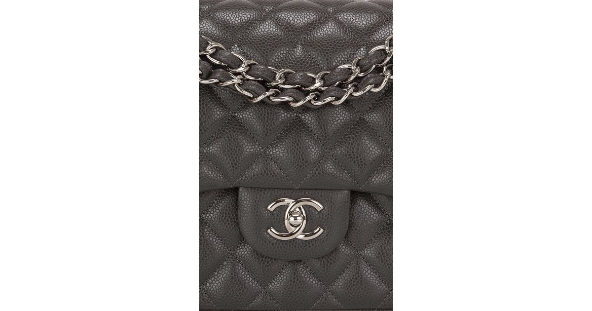 4304c4c27755 Madison Avenue Couture Chanel Dark Grey Quilted Caviar Classic Jumbo Double  Flap Bag in Gray - Lyst