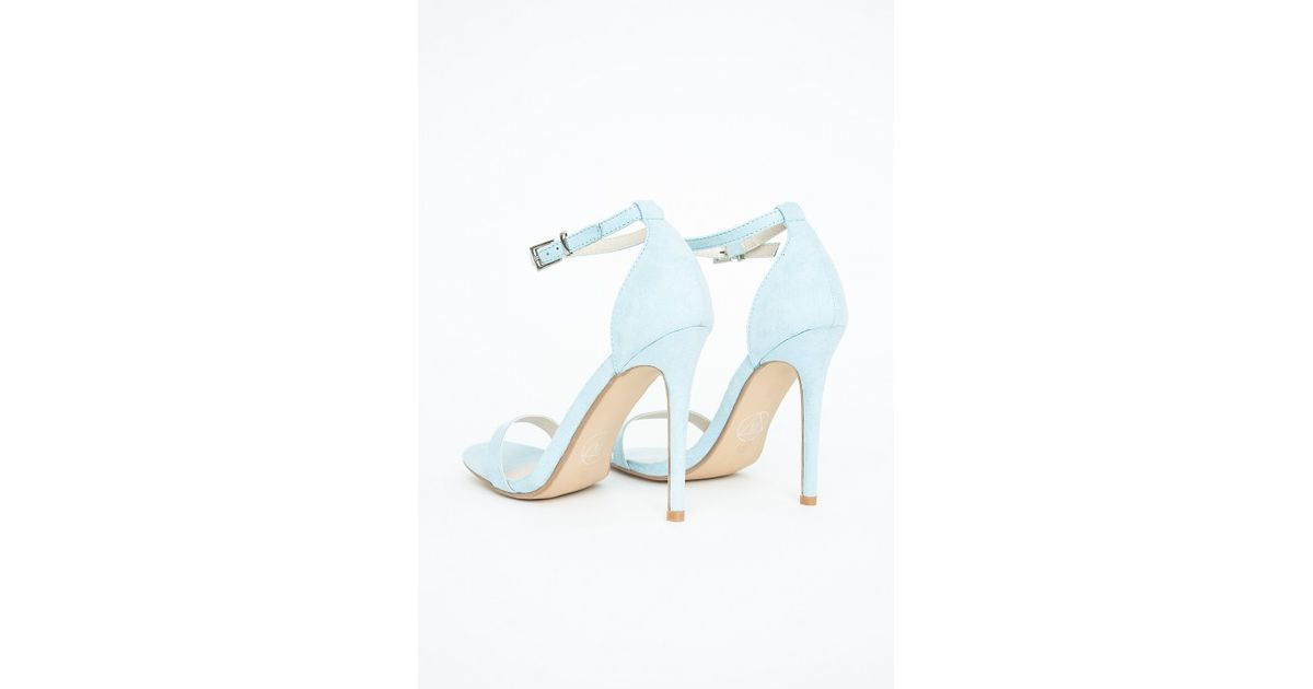 1526908add Lyst - Missguided Clara Heeled Sandals Baby Blue in Blue