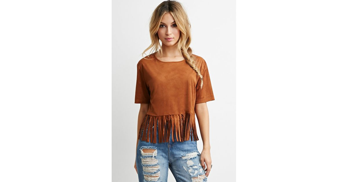 4bc40d83dda68c Forever 21 Faux Suede Fringe Top You ve Been Added To The Waitlist in Brown  - Lyst