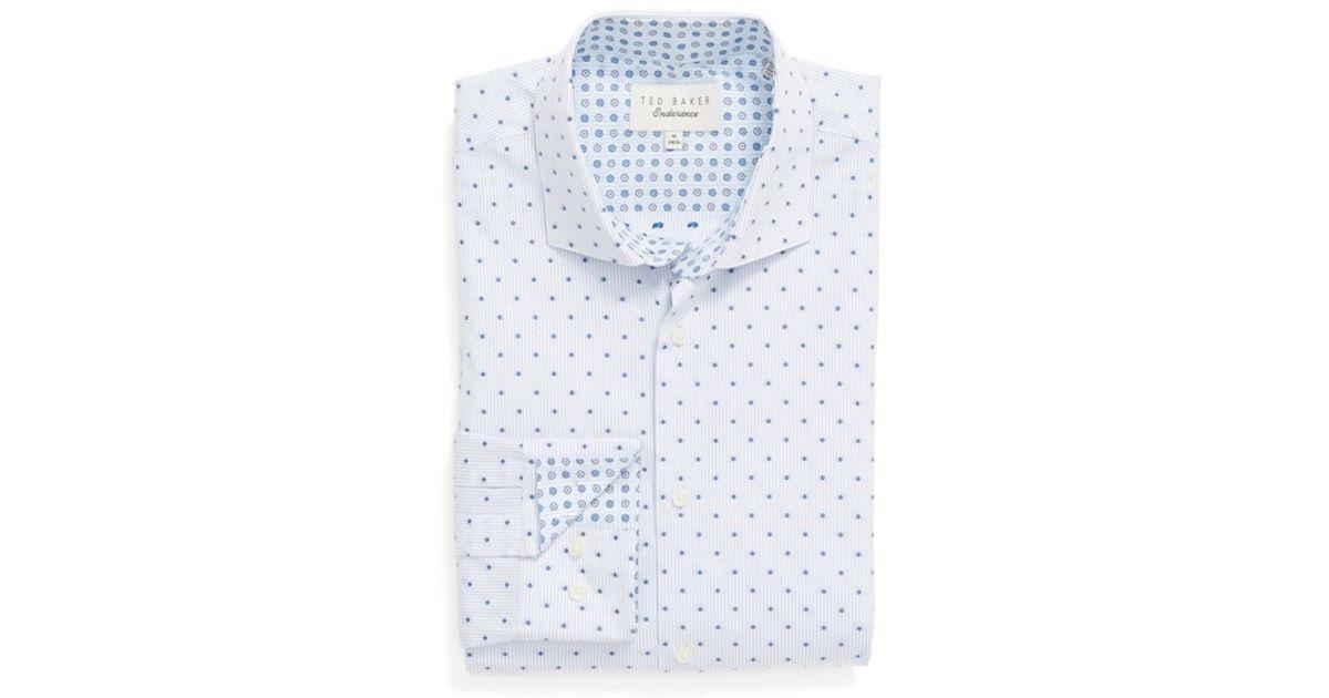 457e3ba2c9649 Lyst - Ted Baker  kaylen  Trim Fit Dot Dress Shirt in Blue for Men