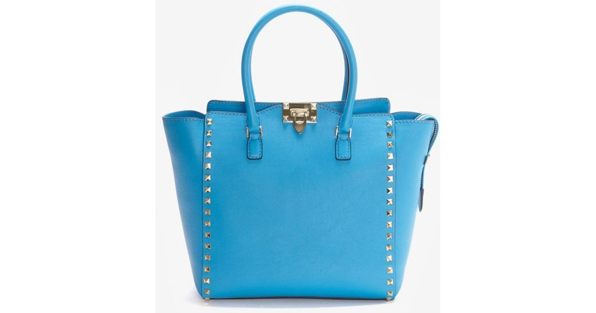 e71b7b0b50 Lyst - Valentino Double Handle Rockstud Tote Peacock Blue in Blue