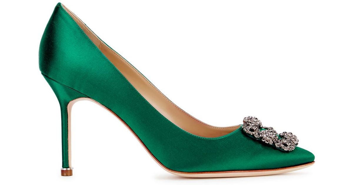 b36fb0c5798 Manolo Blahnik Hangisi 90 Emerald Satin Pumps in Green - Lyst