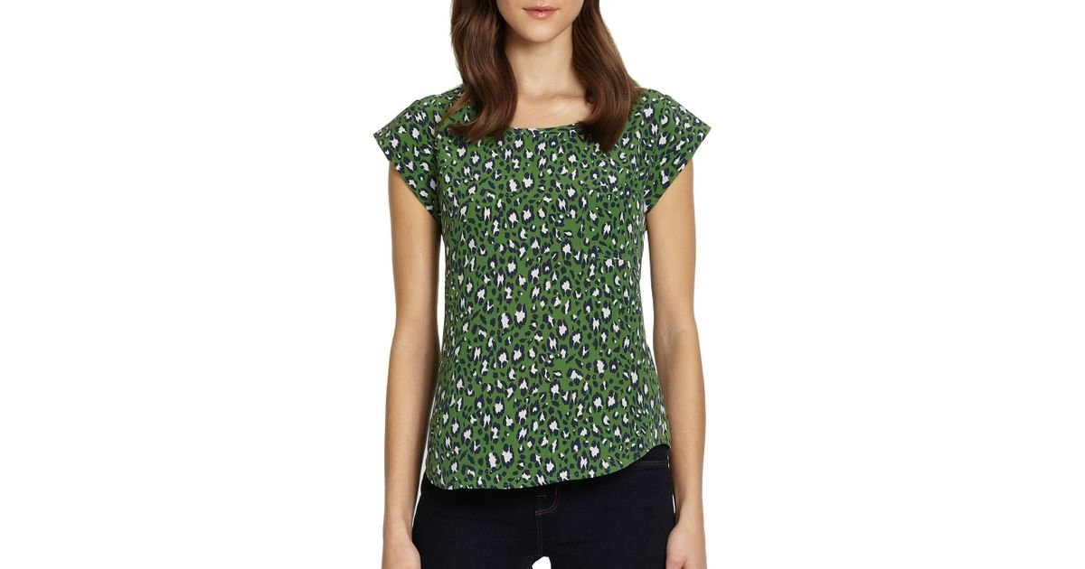 2453ff883f25b Lyst - Joie Rancher Printed Silk Blouse in Green