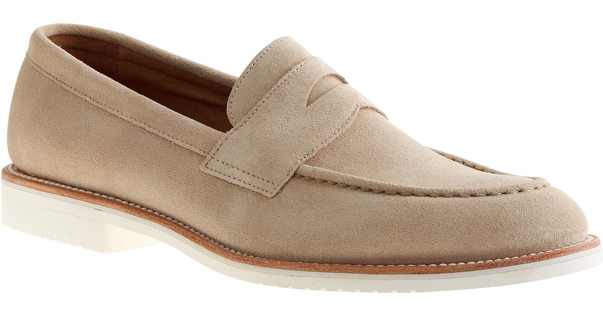 be439d43865 J.Crew Kenton Suede Penny Loafers With White Soles in Natural for Men - Lyst