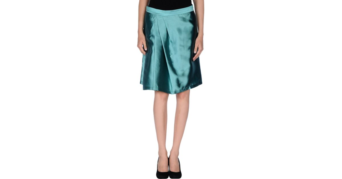 boutique moschino knee length skirt in green lyst