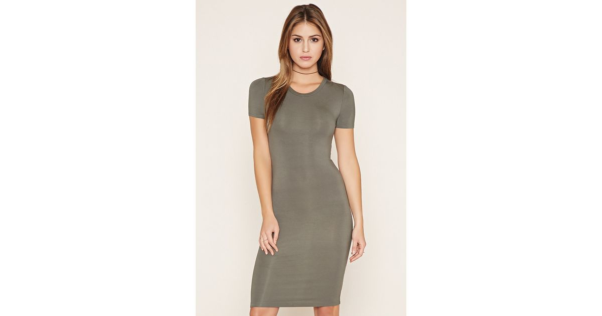 470cc9a48d Forever 21 Bodycon T-shirt Dress in Gray - Lyst