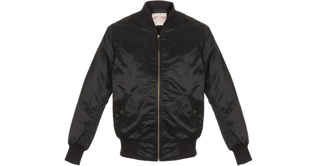Leftfield Nyc Satin Nylon Car Club Black Jacket In Black For Men Lyst