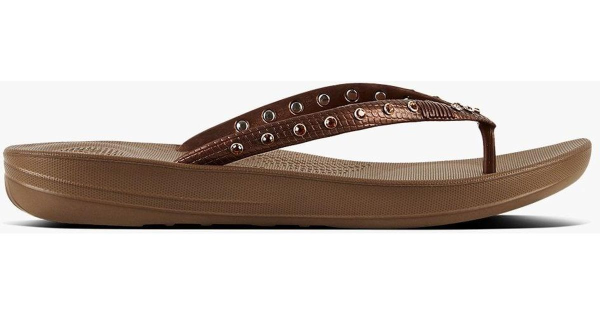 b5d1f93dc52 Lyst - Fitflop Iqushion Crystal Bronze Toe Post Flip Flops in Brown