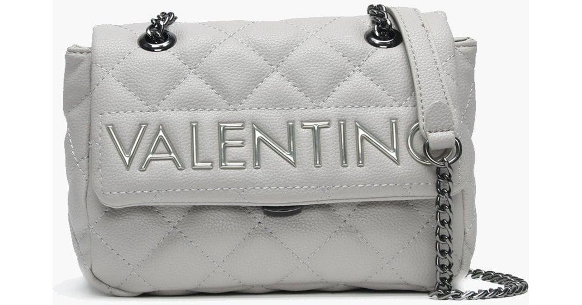 b998ec75e Valentino By Mario Valentino Small Licia Grey Quilted Logo Cross-body Bag  in Gray - Lyst