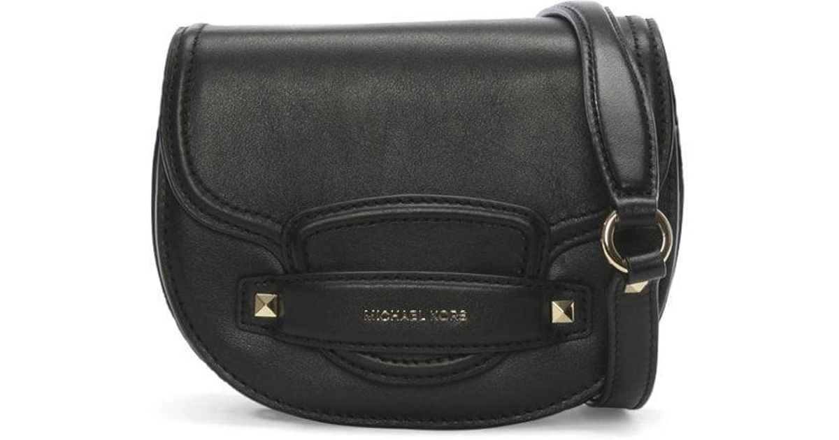 c190d9f5dc03 Michael Kors Small Cary Black Leather Saddle Bag in Black - Lyst