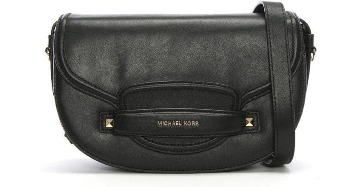 615cce83531c Michael Kors Medium Cary Black Leather Saddle Bag in Black - Lyst