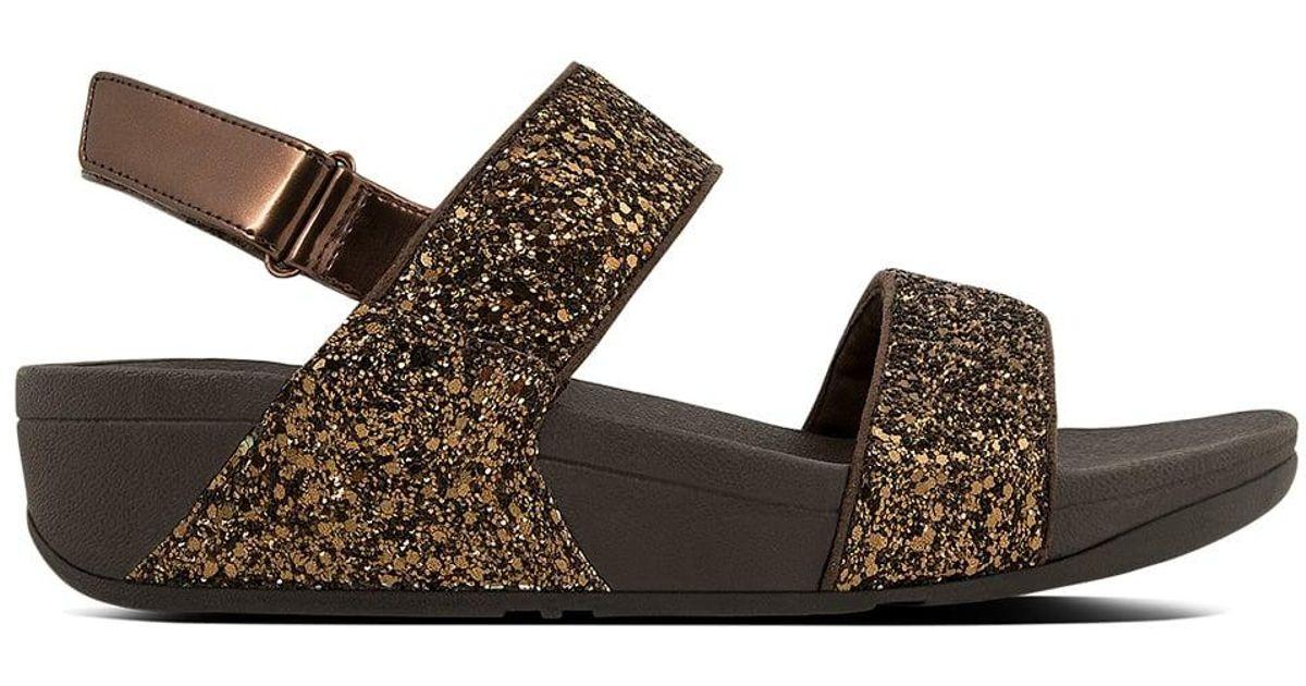 0c07fce9c8e61a Lyst - Fitflop Glitterball Bronze Ankle Strap Sandals in Brown