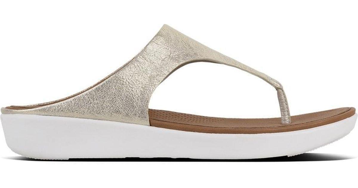 2b678b4a8e874 Fitflop Banda Silver Metallic Leather Toe Post Sandals in Metallic - Lyst
