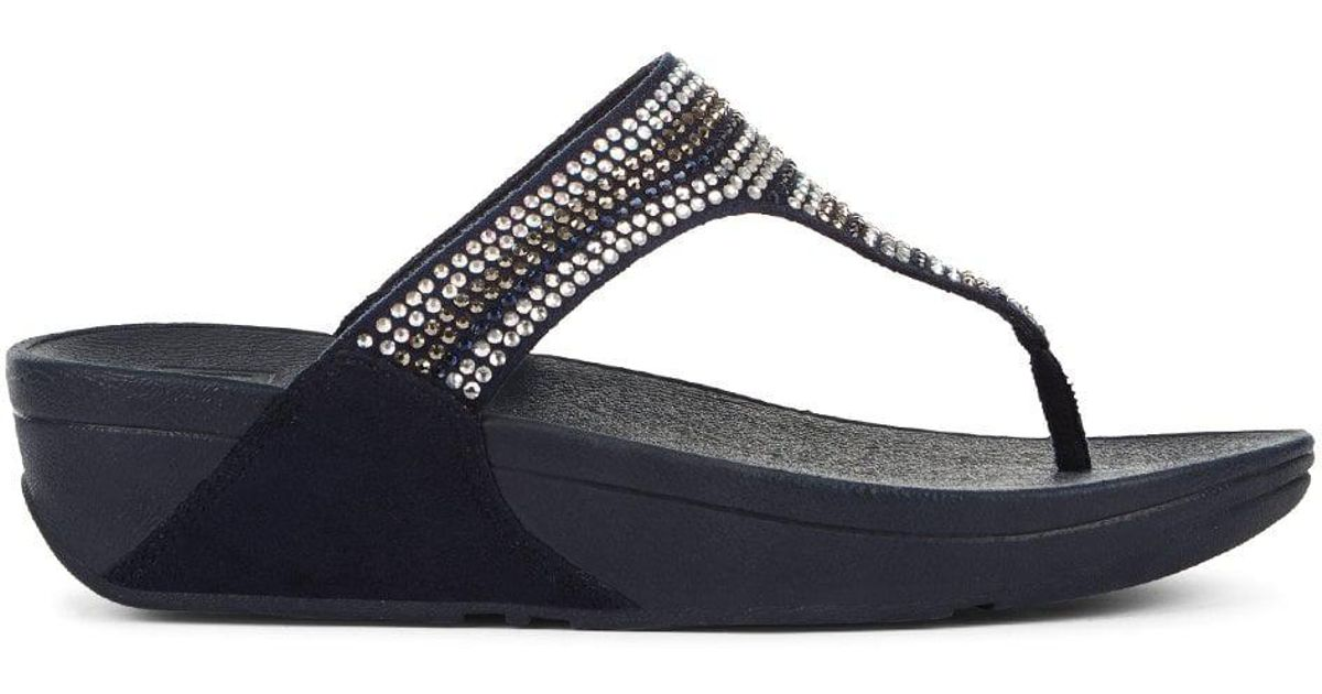 27492e377 Lyst - Fitflop Strobe Embellished Navy Toe Post Flip Flops in Blue